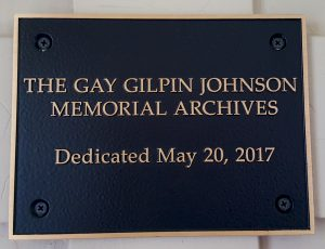 Gay Johnson Archives plaque - edited