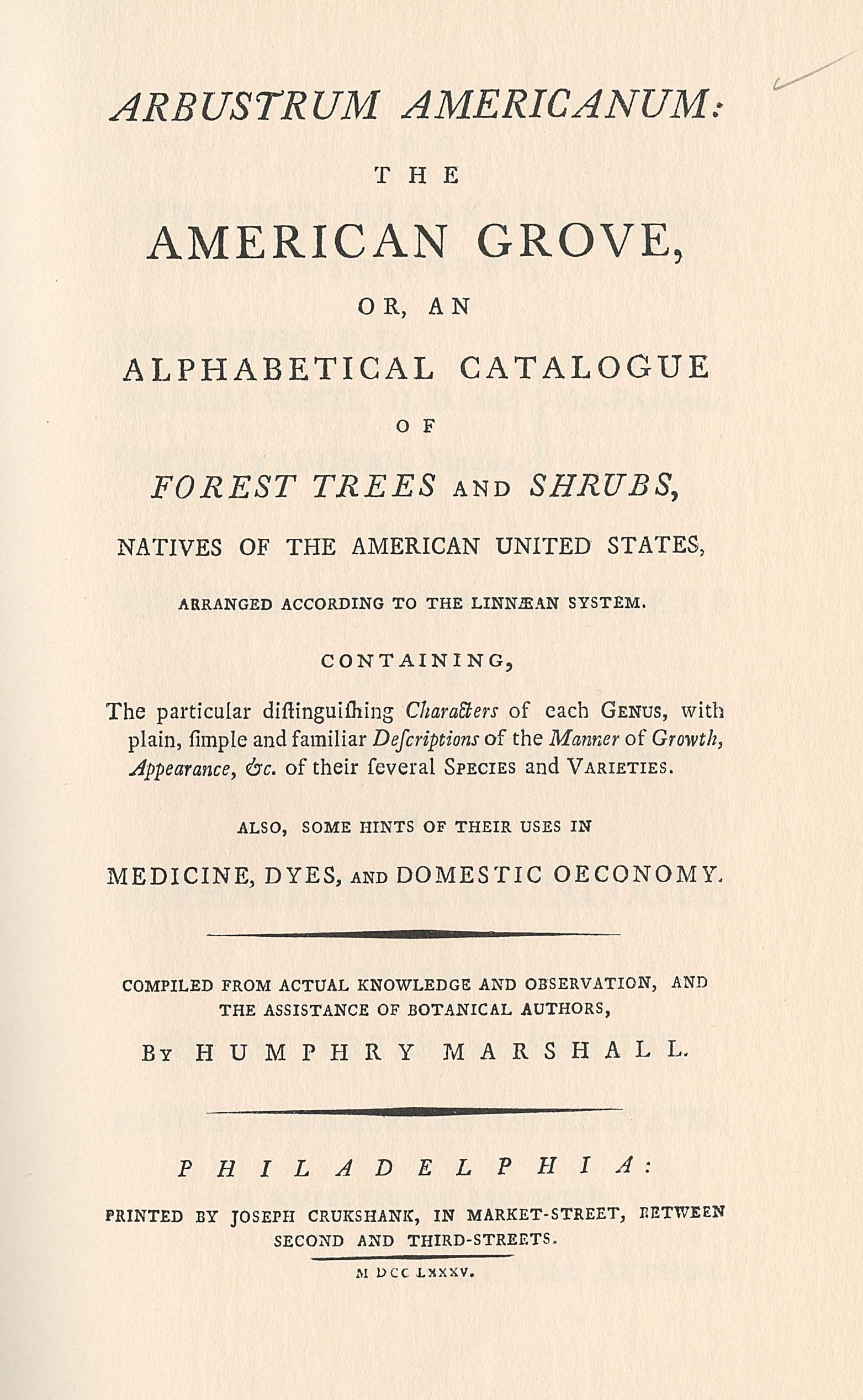 Title page from Humphrey Marshall's Arbustrum Americanum, 1785