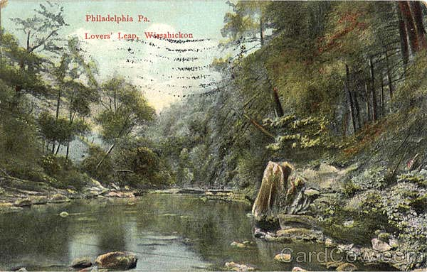 A 1909 postcard view of Lover's Leap.