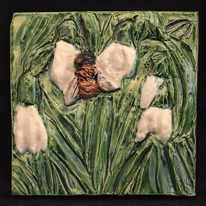 Honeybee tile - of the FOUND exhibit by Karen Singer Tileworks