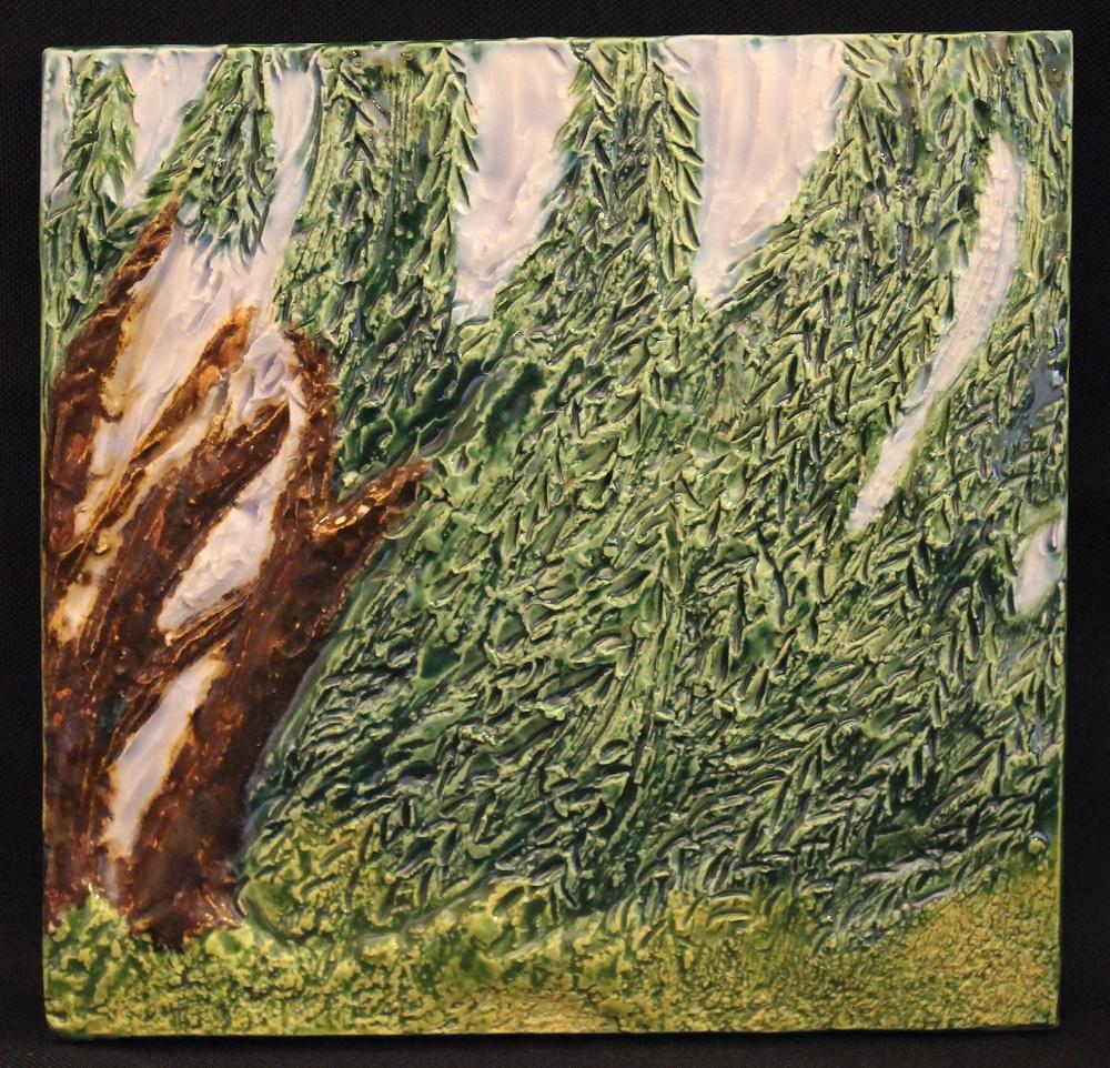Wind tile - of the FOUND exhibit by Karen Singer Tileworks