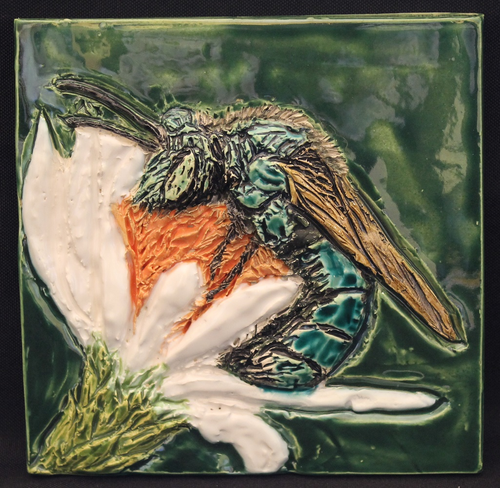 Blue Orchard Mason Bee tile - of the FOUND exhibit by Karen Singer Tileworks