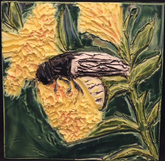 Scollid Wasp – of the FOUND exhibit by Karen Singer Tileworks