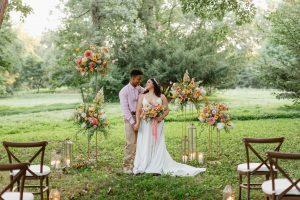 wedding couple in meadow